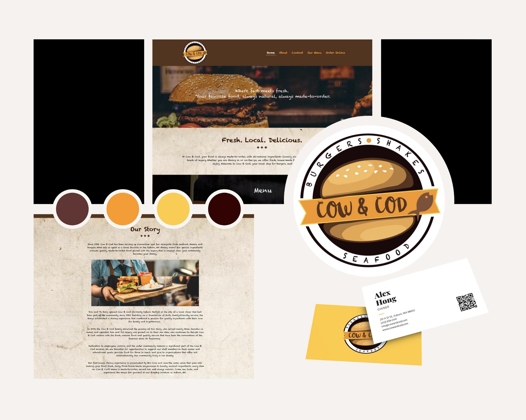 Cow & Cod Web Design Branding and website design built on divi platform