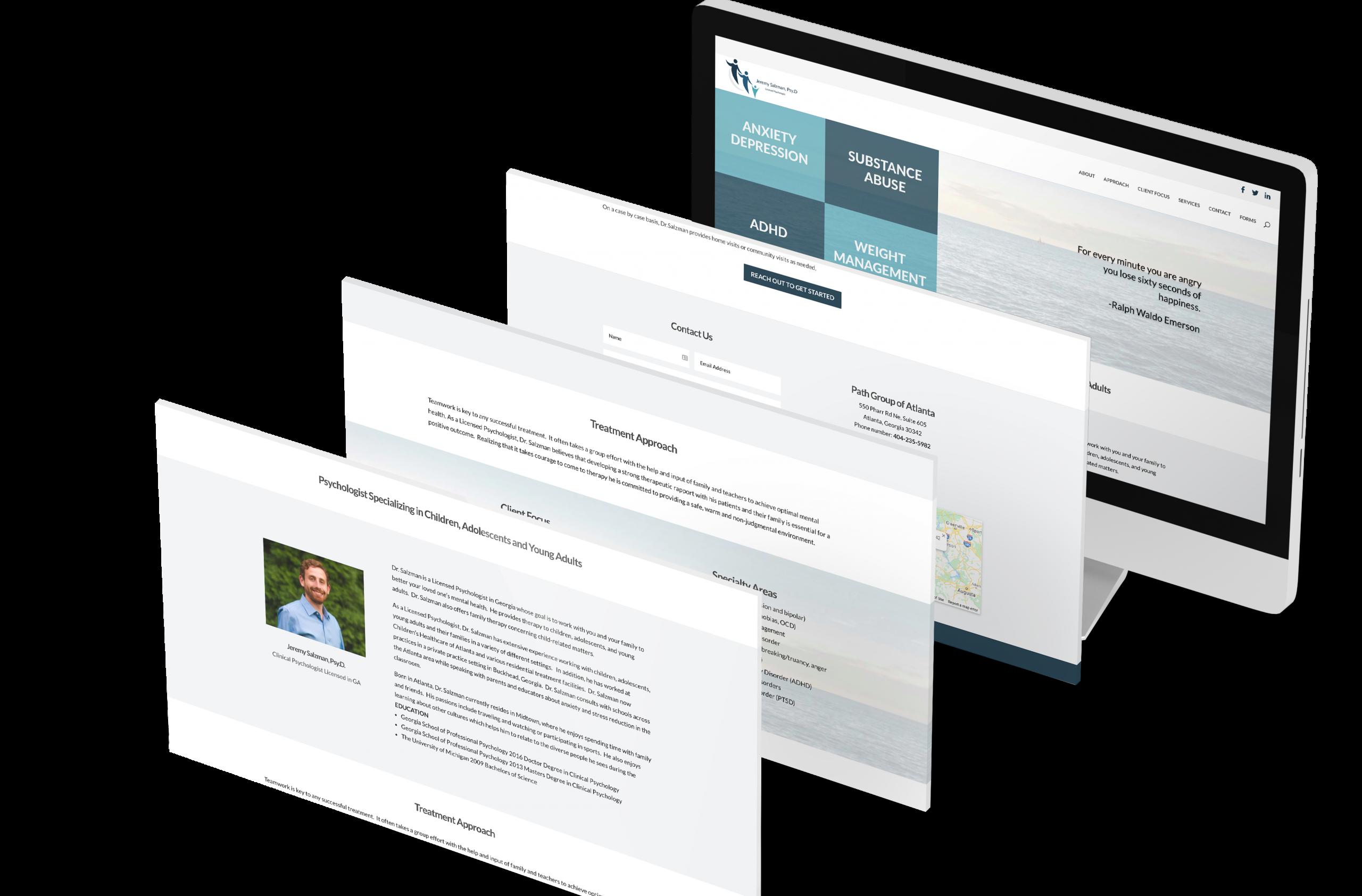 Jeremy Salzman Psy D website design built on WordPress using Divi platform
