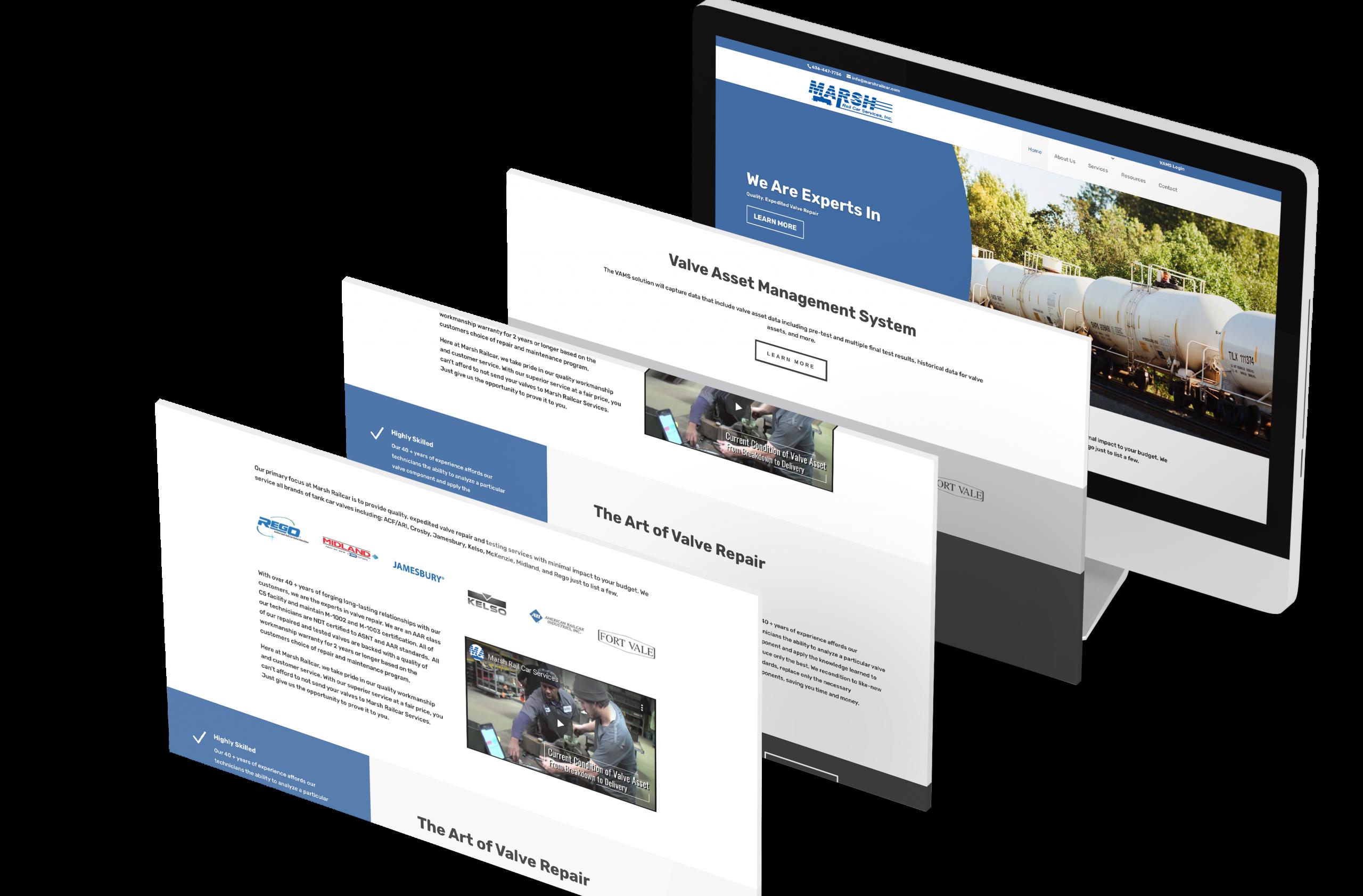 Marsh Rail Car Website design built using WordPress and divi platform