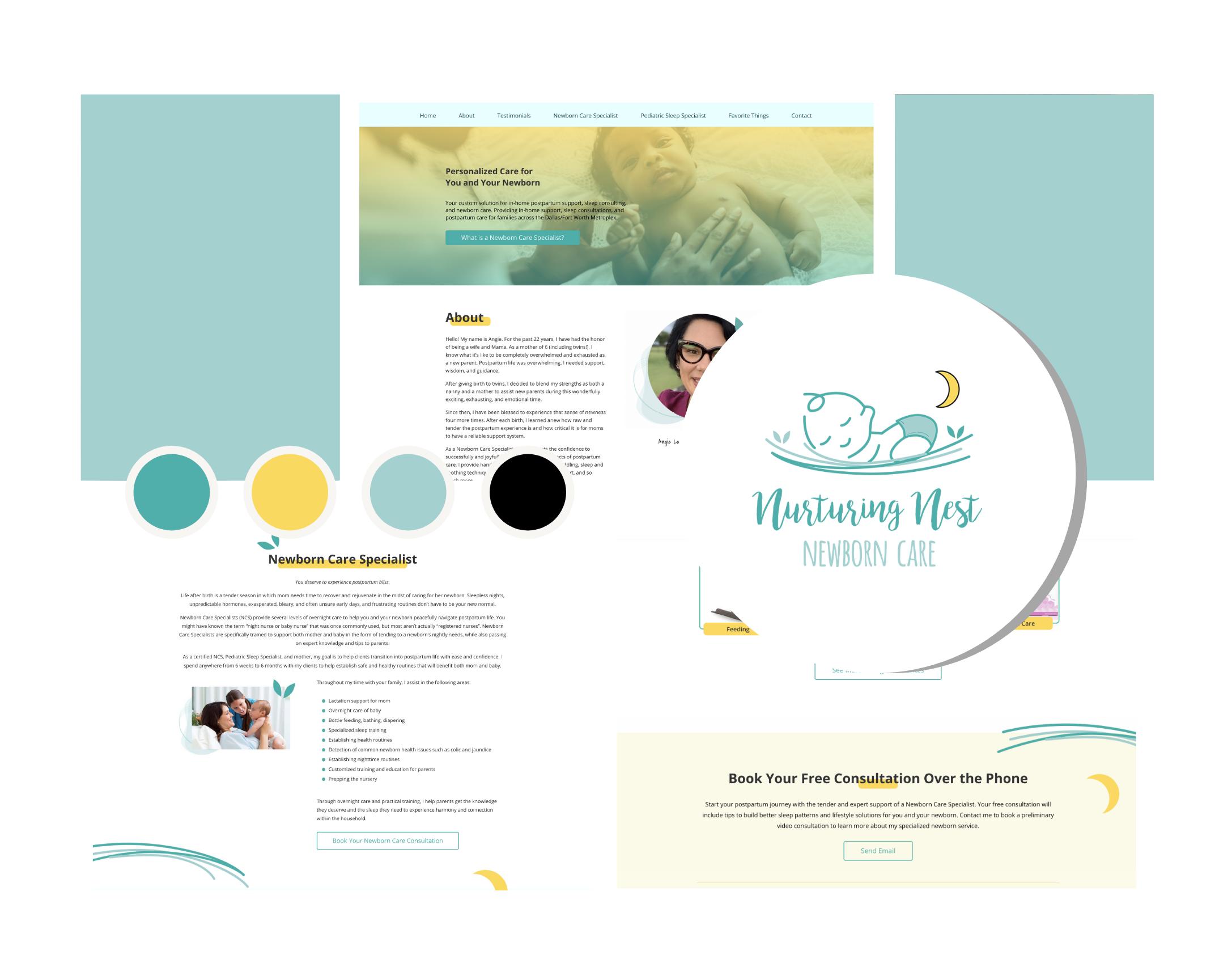 Nurturing Nest Newborns branding and website design