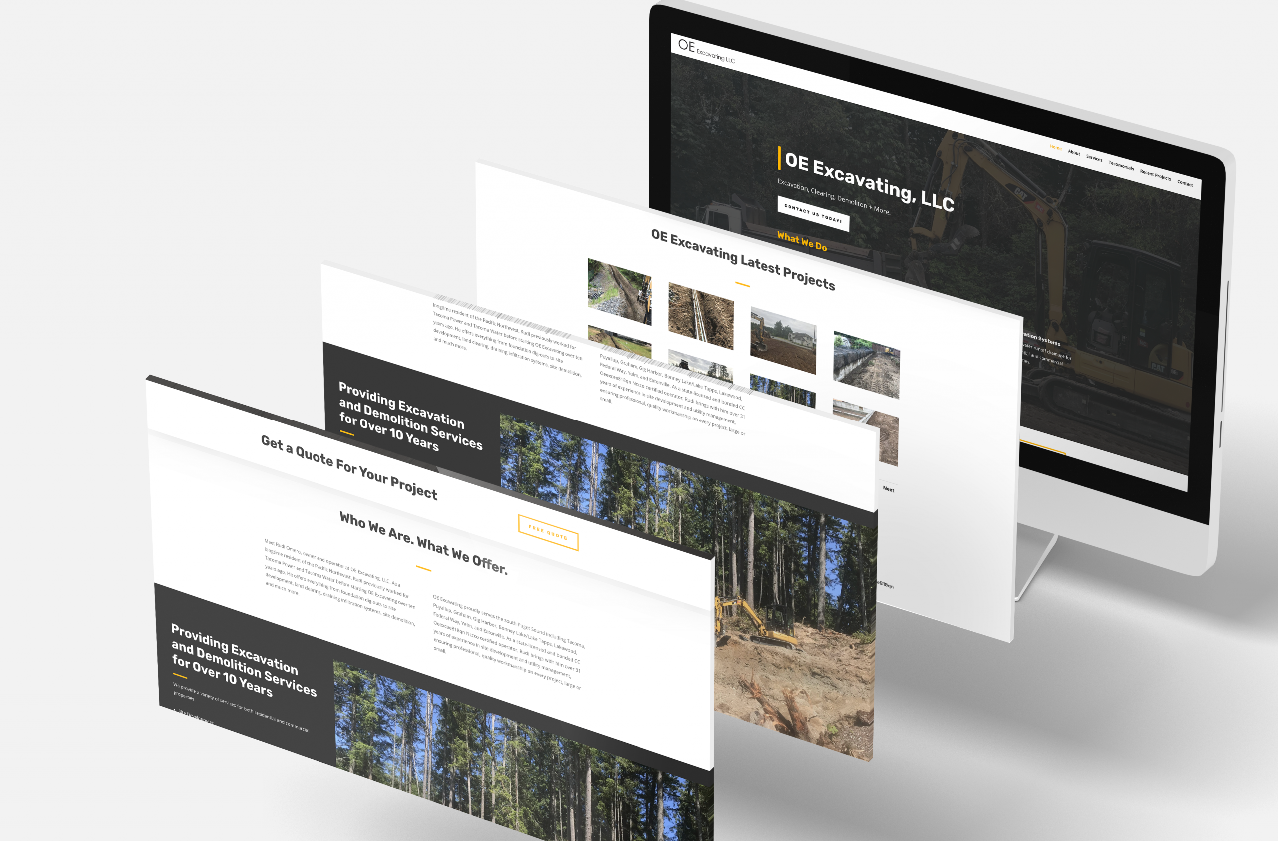 OE Excavating Website built using the divi platform